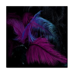 Feathers Quill Pink Black Blue Tile Coasters by Mariart