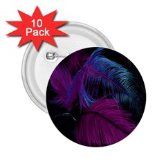 Feathers Quill Pink Black Blue 2 25  Buttons (10 Pack)