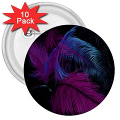 Feathers Quill Pink Black Blue 3  Buttons (10 Pack)