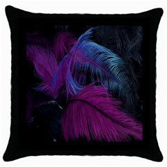 Feathers Quill Pink Black Blue Throw Pillow Case (black) by Mariart
