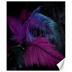Feathers Quill Pink Black Blue Canvas 20  X 24   by Mariart