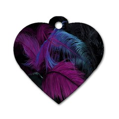 Feathers Quill Pink Black Blue Dog Tag Heart (two Sides) by Mariart