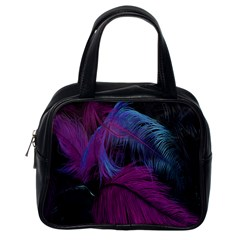 Feathers Quill Pink Black Blue Classic Handbags (one Side) by Mariart