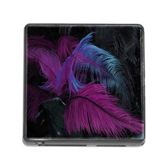 Feathers Quill Pink Black Blue Memory Card Reader (square) by Mariart