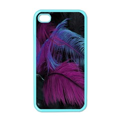 Feathers Quill Pink Black Blue Apple Iphone 4 Case (color)
