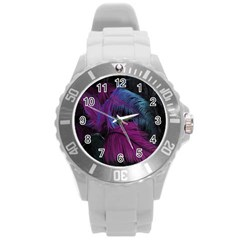 Feathers Quill Pink Black Blue Round Plastic Sport Watch (l) by Mariart