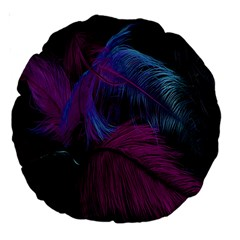 Feathers Quill Pink Black Blue Large 18  Premium Round Cushions by Mariart