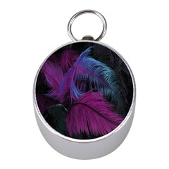 Feathers Quill Pink Black Blue Mini Silver Compasses by Mariart