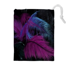 Feathers Quill Pink Black Blue Drawstring Pouches (extra Large) by Mariart