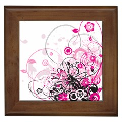 Wreaths Frame Flower Floral Pink Black Framed Tiles