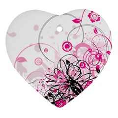 Wreaths Frame Flower Floral Pink Black Ornament (heart)