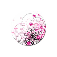 Wreaths Frame Flower Floral Pink Black Magnet 3  (round) by Mariart