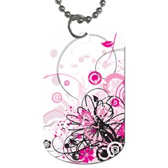 Wreaths Frame Flower Floral Pink Black Dog Tag (two Sides) by Mariart