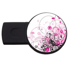 Wreaths Frame Flower Floral Pink Black Usb Flash Drive Round (4 Gb) by Mariart