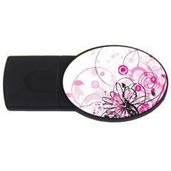 Wreaths Frame Flower Floral Pink Black Usb Flash Drive Oval (4 Gb) by Mariart