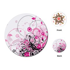 Wreaths Frame Flower Floral Pink Black Playing Cards (round)