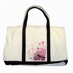 Wreaths Frame Flower Floral Pink Black Two Tone Tote Bag