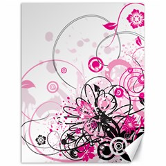 Wreaths Frame Flower Floral Pink Black Canvas 18  X 24   by Mariart