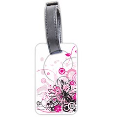 Wreaths Frame Flower Floral Pink Black Luggage Tags (one Side)  by Mariart