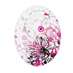 Wreaths Frame Flower Floral Pink Black Oval Filigree Ornament (two Sides) by Mariart