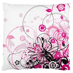Wreaths Frame Flower Floral Pink Black Large Cushion Case (two Sides) by Mariart