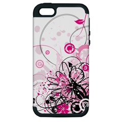 Wreaths Frame Flower Floral Pink Black Apple Iphone 5 Hardshell Case (pc+silicone) by Mariart