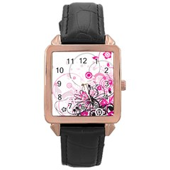 Wreaths Frame Flower Floral Pink Black Rose Gold Leather Watch  by Mariart