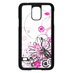 Wreaths Frame Flower Floral Pink Black Samsung Galaxy S5 Case (black) by Mariart