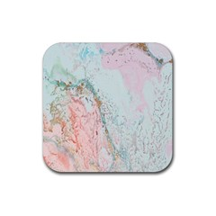 Geode Crystal Pink Blue Rubber Square Coaster (4 Pack)  by Mariart