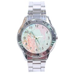 Geode Crystal Pink Blue Stainless Steel Analogue Watch by Mariart