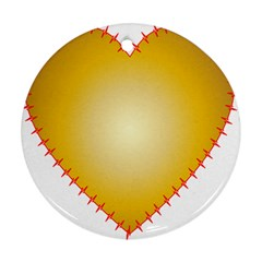 Heart Rhythm Gold Red Round Ornament (two Sides) by Mariart