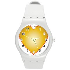 Heart Rhythm Gold Red Round Plastic Sport Watch (m) by Mariart