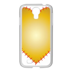 Heart Rhythm Gold Red Samsung Galaxy S4 I9500/ I9505 Case (white) by Mariart