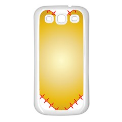 Heart Rhythm Gold Red Samsung Galaxy S3 Back Case (white) by Mariart