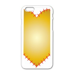 Heart Rhythm Gold Red Apple Iphone 6/6s White Enamel Case by Mariart