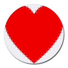Heart Rhythm Inner Red Round Mousepads by Mariart