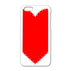 Heart Rhythm Inner Red Apple Iphone 6/6s White Enamel Case by Mariart