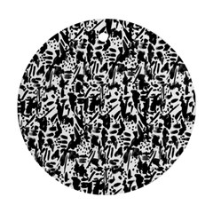 Deskjet Ink Splatter Black Spot Round Ornament (two Sides) by Mariart