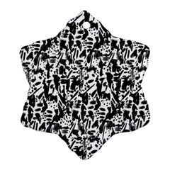 Deskjet Ink Splatter Black Spot Snowflake Ornament (two Sides) by Mariart