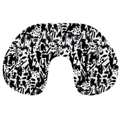 Deskjet Ink Splatter Black Spot Travel Neck Pillows by Mariart