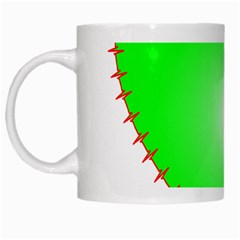 Heart Rhythm Inner Green Red White Mugs