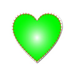 Heart Rhythm Inner Green Red Heart Magnet by Mariart