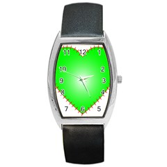 Heart Rhythm Inner Green Red Barrel Style Metal Watch by Mariart
