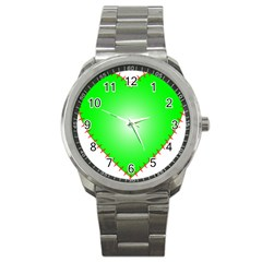 Heart Rhythm Inner Green Red Sport Metal Watch by Mariart