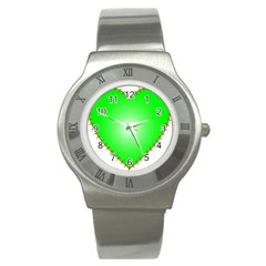Heart Rhythm Inner Green Red Stainless Steel Watch by Mariart