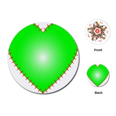 Heart Rhythm Inner Green Red Playing Cards (round)  by Mariart