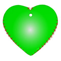 Heart Rhythm Inner Green Red Heart Ornament (two Sides) by Mariart