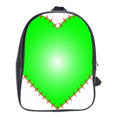 Heart Rhythm Inner Green Red School Bags(large)