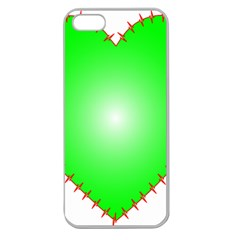 Heart Rhythm Inner Green Red Apple Seamless Iphone 5 Case (clear)