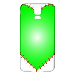 Heart Rhythm Inner Green Red Samsung Galaxy S5 Back Case (white)